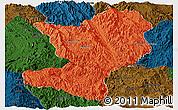 Political Panoramic Map of Mong Ping, darken