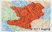 Political Panoramic Map of Mong Ping, lighten