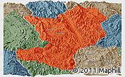 Political Panoramic Map of Mong Ping, semi-desaturated