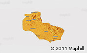 Political Panoramic Map of Mong Yai, single color outside