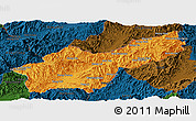 Political Panoramic Map of Mong Yawng, darken