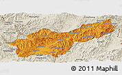 Political Panoramic Map of Mong Yawng, shaded relief outside