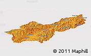 Political Panoramic Map of Mong Yawng, single color outside