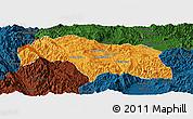 Political Panoramic Map of Mongkhak, darken