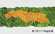 Political Panoramic Map of Mongkhak, satellite outside