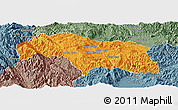 Political Panoramic Map of Mongkhak, semi-desaturated