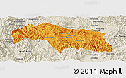 Political Panoramic Map of Mongkhak, shaded relief outside