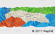 Shaded Relief Panoramic Map of Mongkhak, political outside