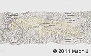 Shaded Relief Panoramic Map of Mongkhak, semi-desaturated