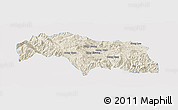 Shaded Relief Panoramic Map of Mongkhak, single color outside