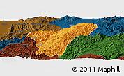 Political Panoramic Map of Namhkan, darken