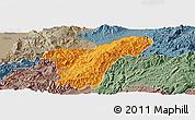 Political Panoramic Map of Namhkan, semi-desaturated