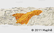 Political Panoramic Map of Namhkan, shaded relief outside