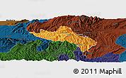Political Panoramic Map of Namhsan, darken