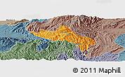 Political Panoramic Map of Namhsan, semi-desaturated