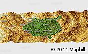 Satellite Panoramic Map of Nampan, physical outside