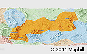 Political Panoramic Map of Namsang, lighten
