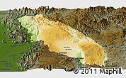 Physical Panoramic Map of Nawnghkio, darken