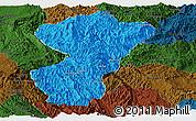 Political Panoramic Map of Pang-Yang, darken