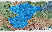Political Panoramic Map of Pang-Yang, semi-desaturated