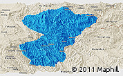 Political Panoramic Map of Pang-Yang, shaded relief outside