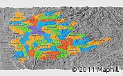 Political Panoramic Map of Shan, desaturated