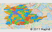 Political Panoramic Map of Shan, lighten