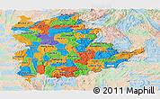 Political Panoramic Map of Shan, lighten