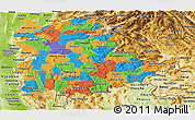 Political Panoramic Map of Shan, physical outside