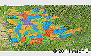 Political Panoramic Map of Shan, satellite outside