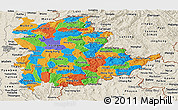 Political Panoramic Map of Shan, shaded relief outside