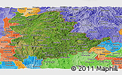 Satellite Panoramic Map of Shan, political shades outside