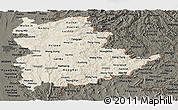 Shaded Relief Panoramic Map of Shan, darken