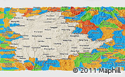 Shaded Relief Panoramic Map of Shan, political outside