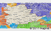 Shaded Relief Panoramic Map of Shan, political shades outside