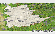 Shaded Relief Panoramic Map of Shan, satellite outside