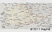 Shaded Relief Panoramic Map of Shan, semi-desaturated