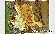 Physical 3D Map of Pinlaung, darken