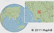 Savanna Style Location Map of Pinlaung, hill shading