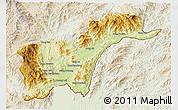 Physical 3D Map of Tachilek, lighten