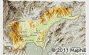 Physical 3D Map of Tachilek, semi-desaturated