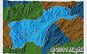 Political 3D Map of Tachilek, darken