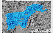 Political 3D Map of Tachilek, desaturated