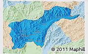 Political 3D Map of Tachilek, lighten