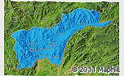 Political 3D Map of Tachilek, satellite outside