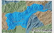 Political 3D Map of Tachilek, semi-desaturated