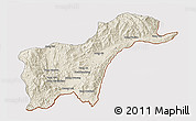 Shaded Relief 3D Map of Tachilek, cropped outside