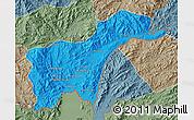 Political Map of Tachilek, semi-desaturated