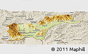 Physical Panoramic Map of Tachilek, shaded relief outside