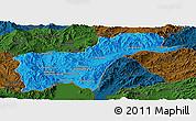 Political Panoramic Map of Tachilek, darken